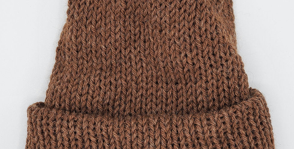 Handmade knit double thickness alpaca stocking hat - brown