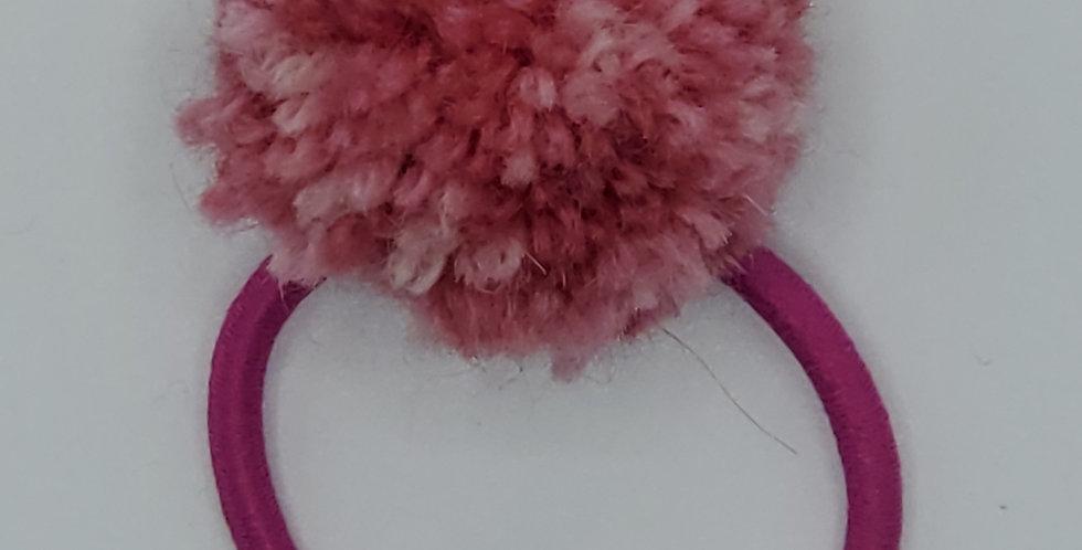 Handmade ponytail holder with large Pom Pom - Watermelon Sugar