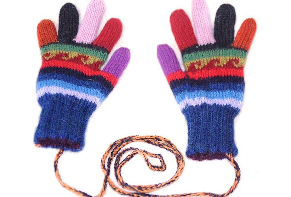 Fiesta Kids Hand Knit Alpaca Reversible Gloves