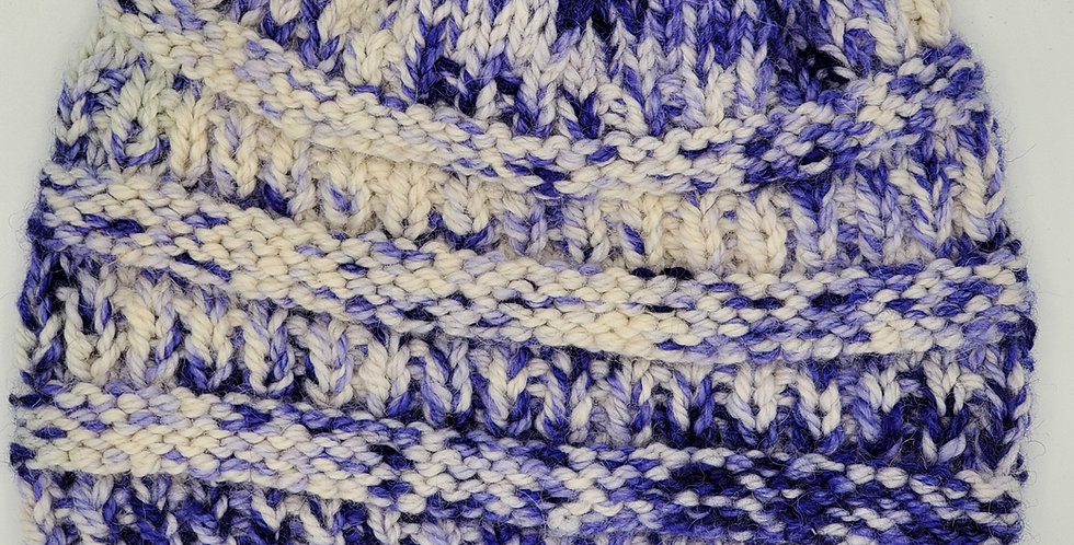 Handmade alpaca bulky knit hat - purple delight
