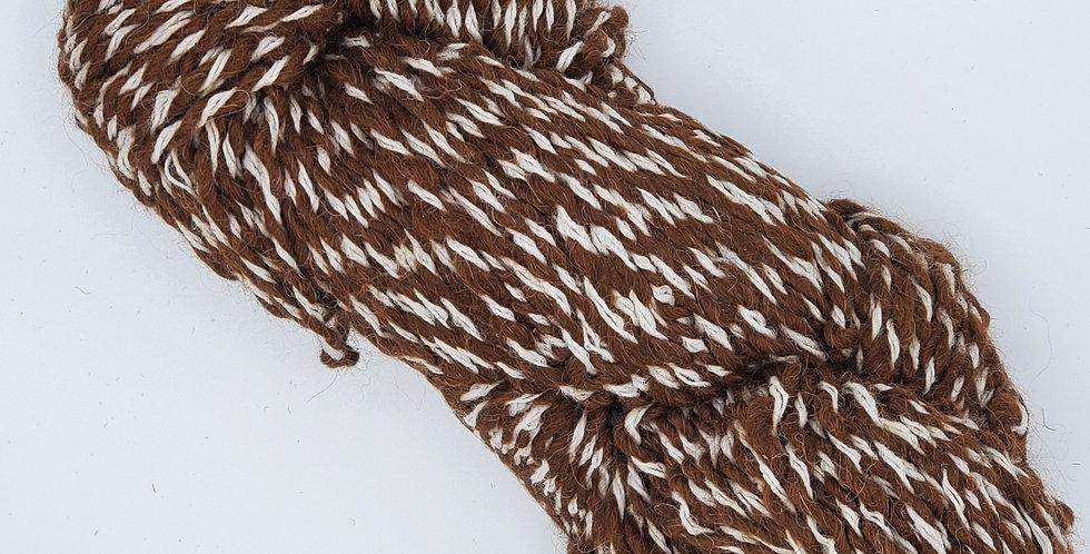 100% Alpaca Yarn Heavy Worsted - Medium Brown and White