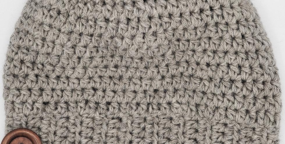 Handmade crocheted alpaca slouchy hat - Silver