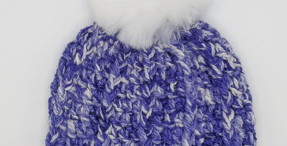 Handmade crocheted pom pom hat - purple delight