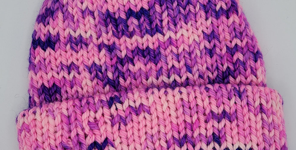 Handmade knit double thickness bulky alpaca stocking hat - pink and purple