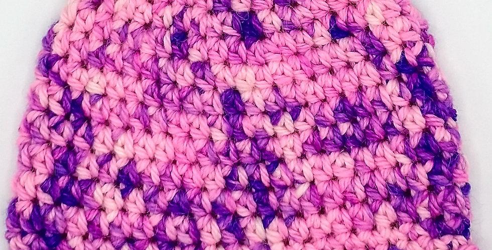 Handmade children's crocheted cap - pink and purple