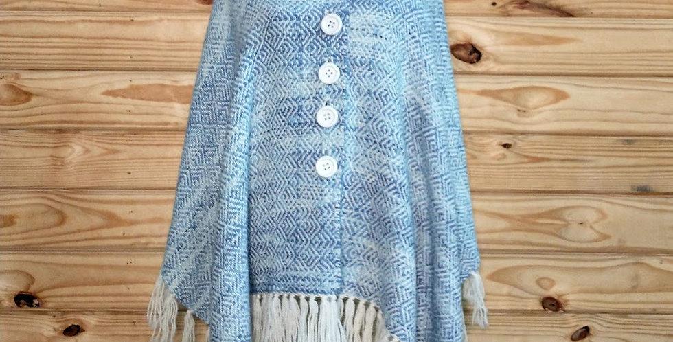 Handamade alpaca shawl - light blue