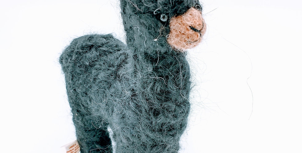 Mama 6.5″ Alpaca Fiber Sculpture - Black
