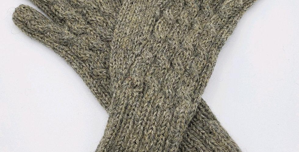 Trenza Cable Alpaca Gloves - Sage