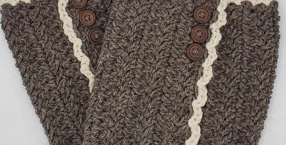 Handmade boot cuffs with vertical stripe - rose grey