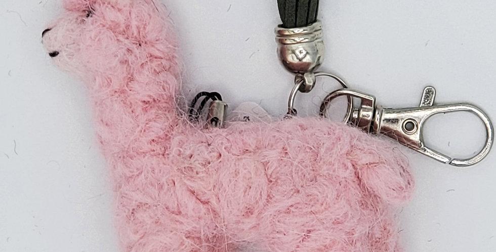 Alpaca Bag Charm: Needle Felted Miniature - Pink