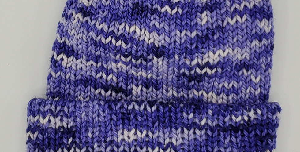Handmade knit double thickness alpaca stocking hat - purple delight