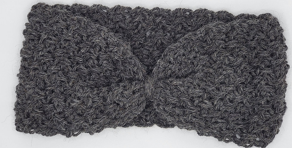 Handmade crocheted cinched headband - dark grey