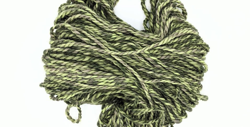 100% Baby Alpaca Chunky Yarn Hank - light and dark green