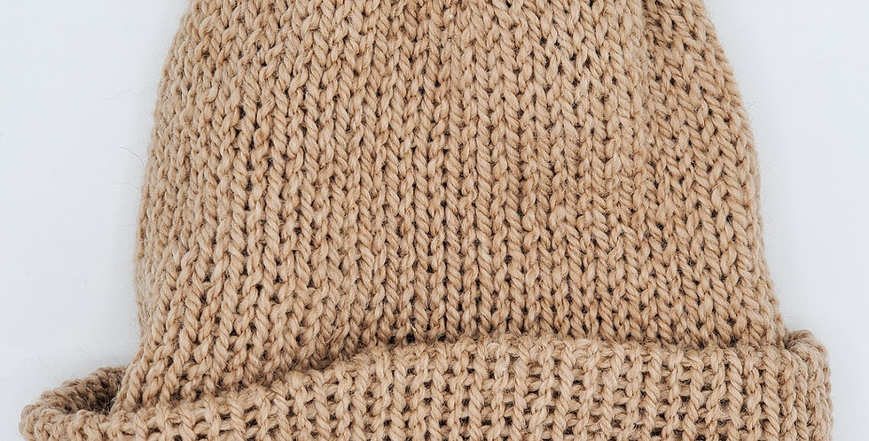 Handmade knit double thickness alpaca stocking hat - fawn