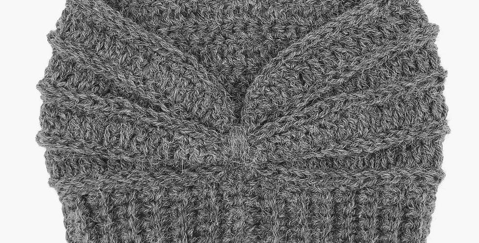 Handmade crocheted extra wide headband - dark grey