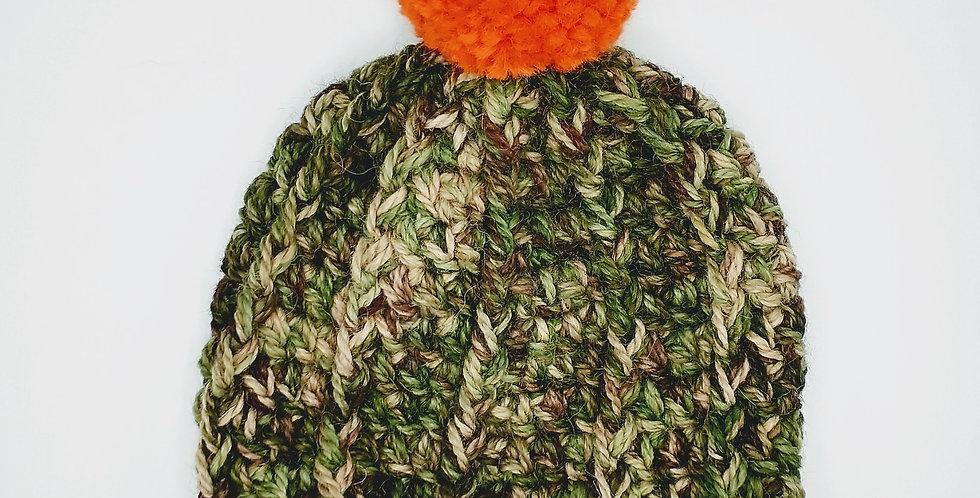 Handmade toddler crocheted camo hat with orange pom