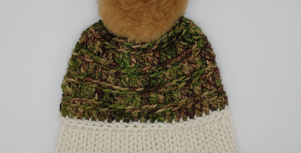 Handmade crocheted bonnet - camo with fuzzy pom