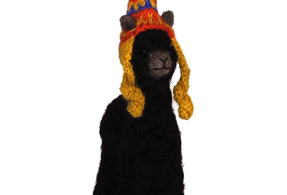 Cria Huacaya: 5.5″ Alpaca Fiber Sculpture - Ebony