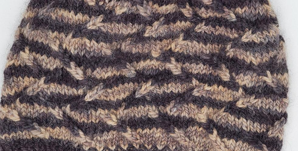Handmade alpaca zig-zag hat - Shades of Autumn