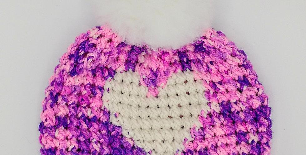 Handmade children's heart hat - pink and purple