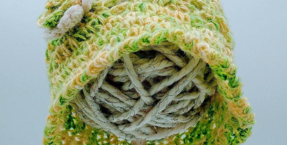 Handmade children's summer bonnet - yellow/green