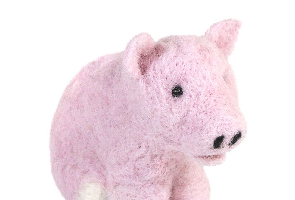 Pot-bellied Pig: Felted Alpaca Sculpture