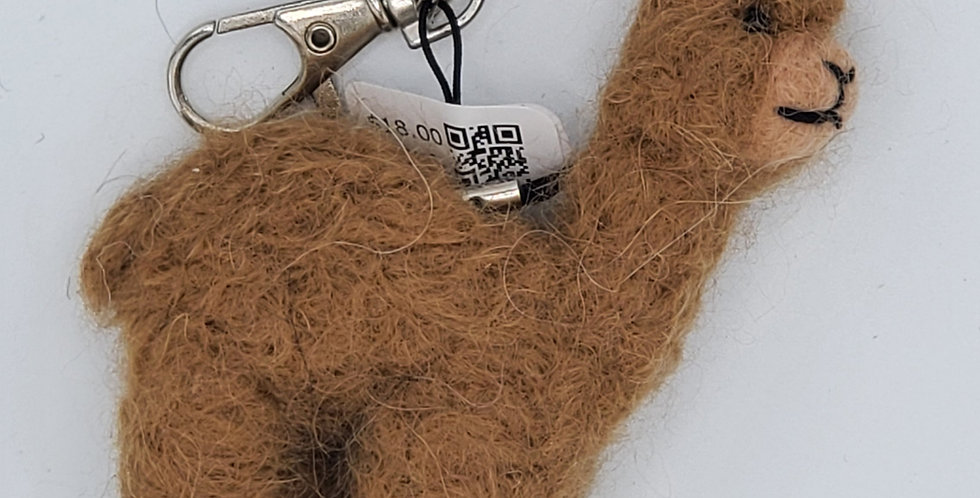 Alpaca Bag Charm: Needle Felted Miniature - Fawn