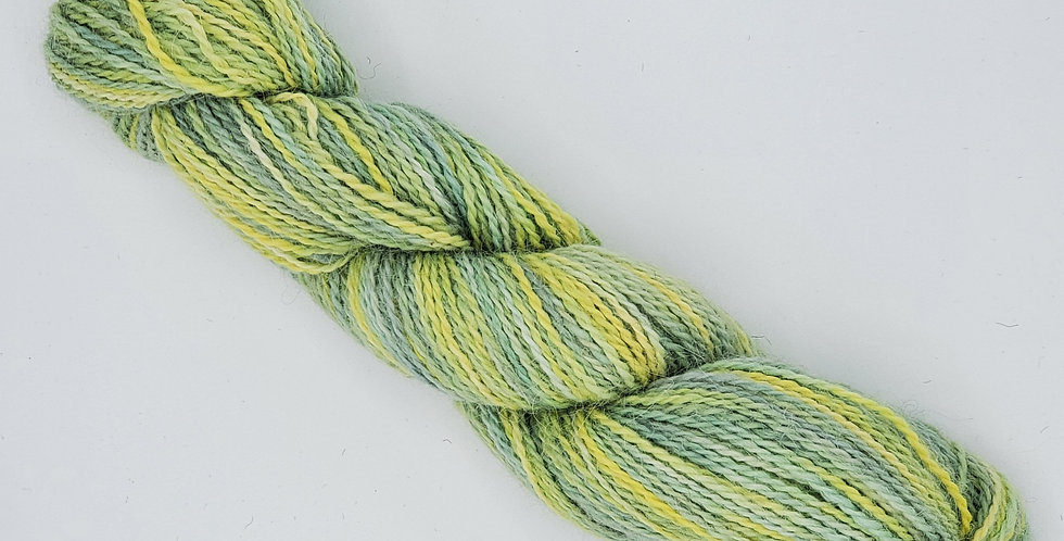100% Alpaca Sportweight Yarn - Dyed Green and Yellow