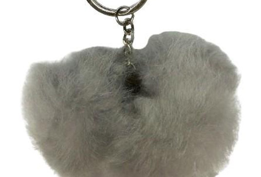 Alpaca Fuzzball Key Chain - Gray