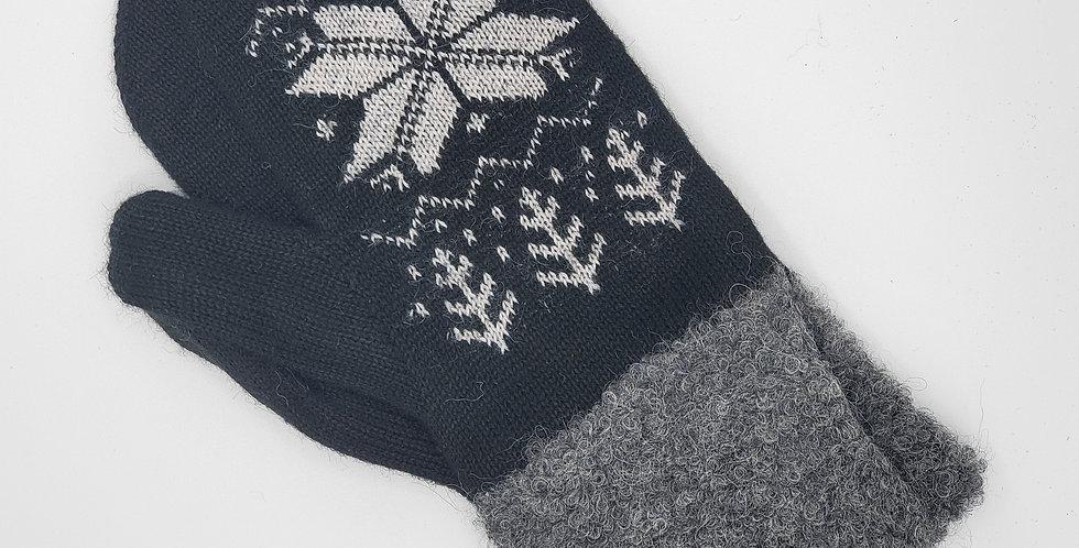 Snowflake Alpaca Mittens - Black/Charcoal
