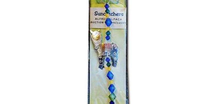 Whimsical Alpaca Suncatcher - darker blue gem color