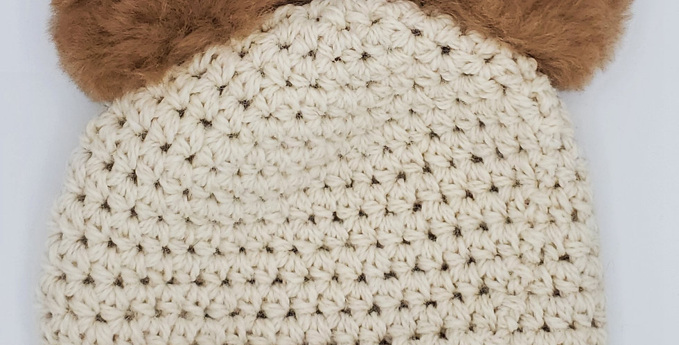 Handmade crocheted panda hat - Natural