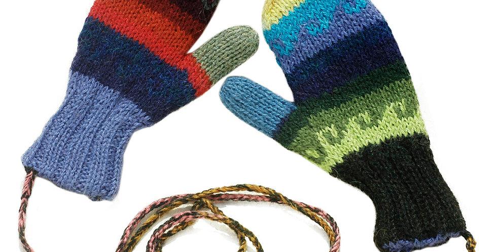 Fiesta Kids Hand Knit Alpaca Reversible Mittens