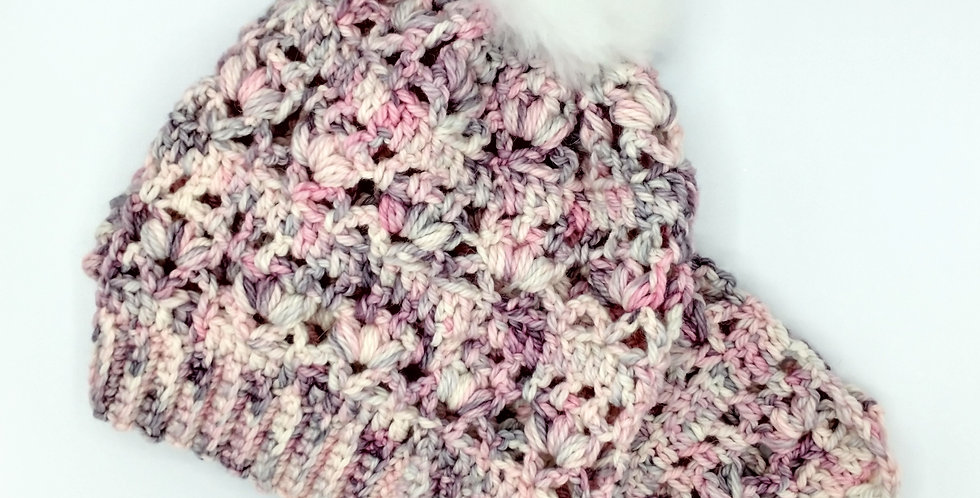 Handmade crocheted pom pom hat and scarf - Sophisticated Lady