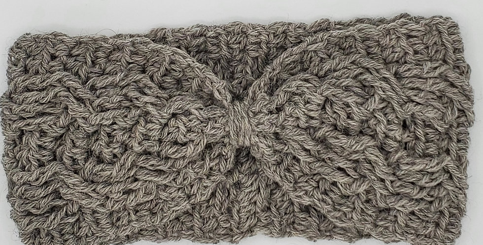 Handmade crocheted cinched headband - silver