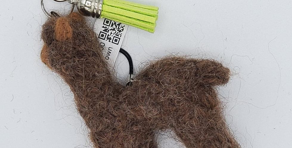 Alpaca Bag Charm: Needle Felted Miniature - Brown