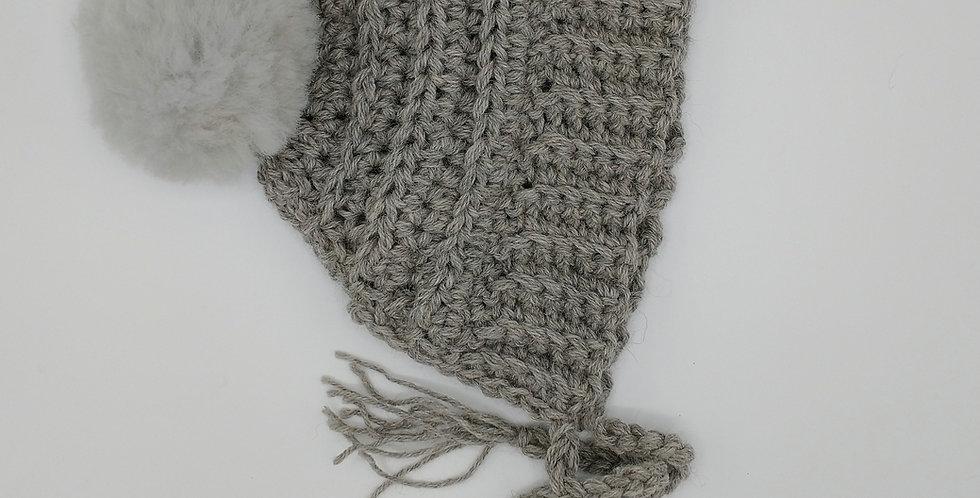 Handmade adult alpine bonnet with grey fuzzy pom