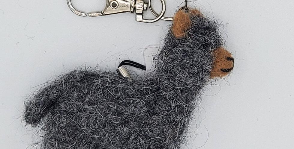 Alpaca Bag Charm: Needle Felted Miniature - Grey