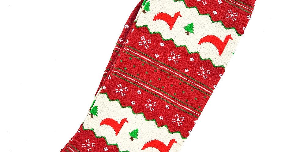 Christmas Print Alpaca Crew Sock - Red Motif