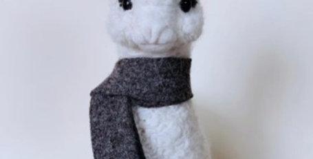 "Large 9"" Baby Alpaca Ornament - Grey Scarf"