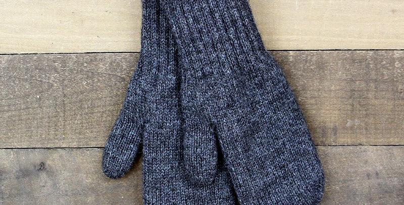 Boucle Lined Alpaca Mittens - dark grey