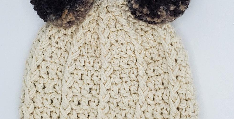 Handmade children's crocheted panda hat - natural
