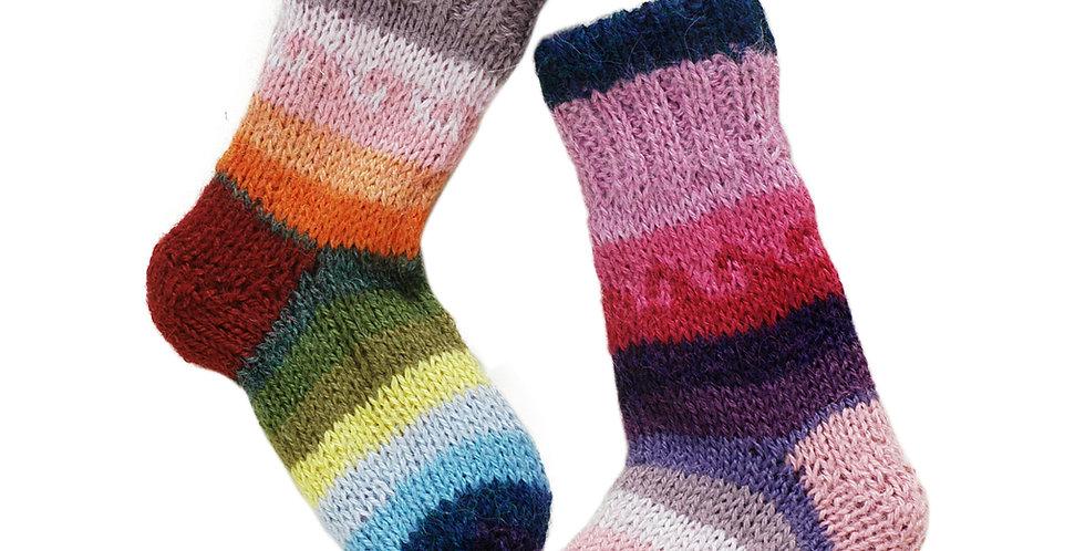 Fiesta Kid's Hand Knit Alpaca Reversible Socks