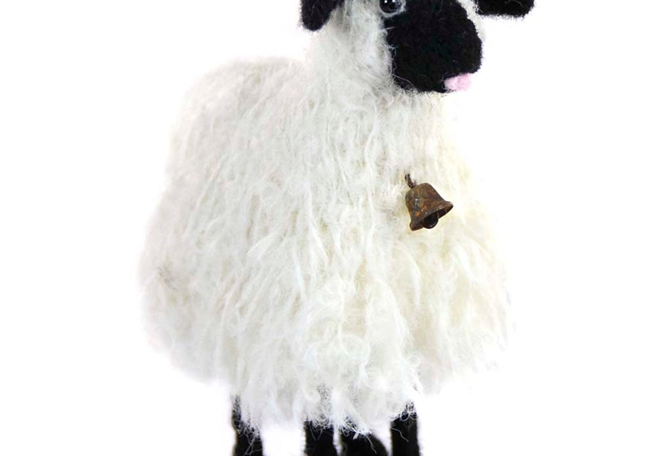 Bell Sheep: Felted Alpaca Sculpture