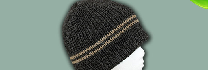The Classic Alpaca Hat - Grey with Fawn Stripe