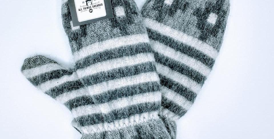 Alpaca Print Fleece Lined Mittens - small geo print