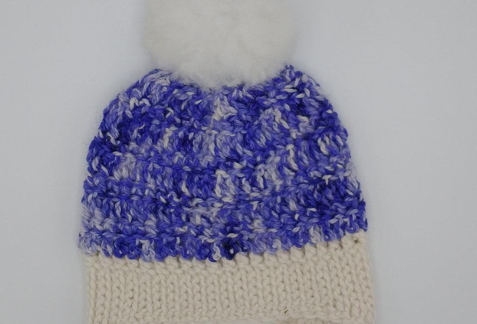 Handmade crocheted bonnet - purple delight with fuzzy pom