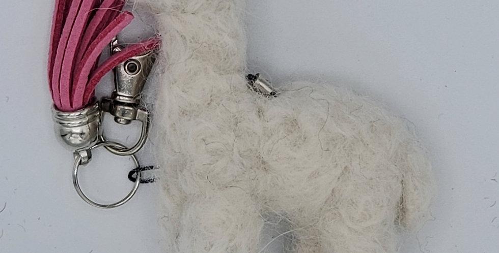 Alpaca Bag Charm: Needle Felted Miniature - White