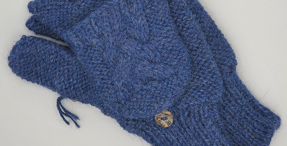 Cable Knit Alpaca Glittens - Denim