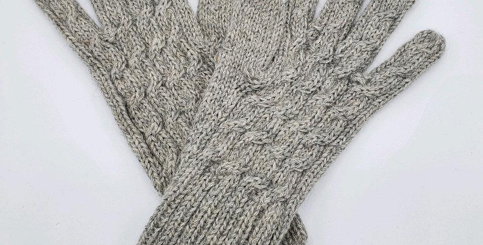 Trenza Cable Alpaca Gloves - Silver
